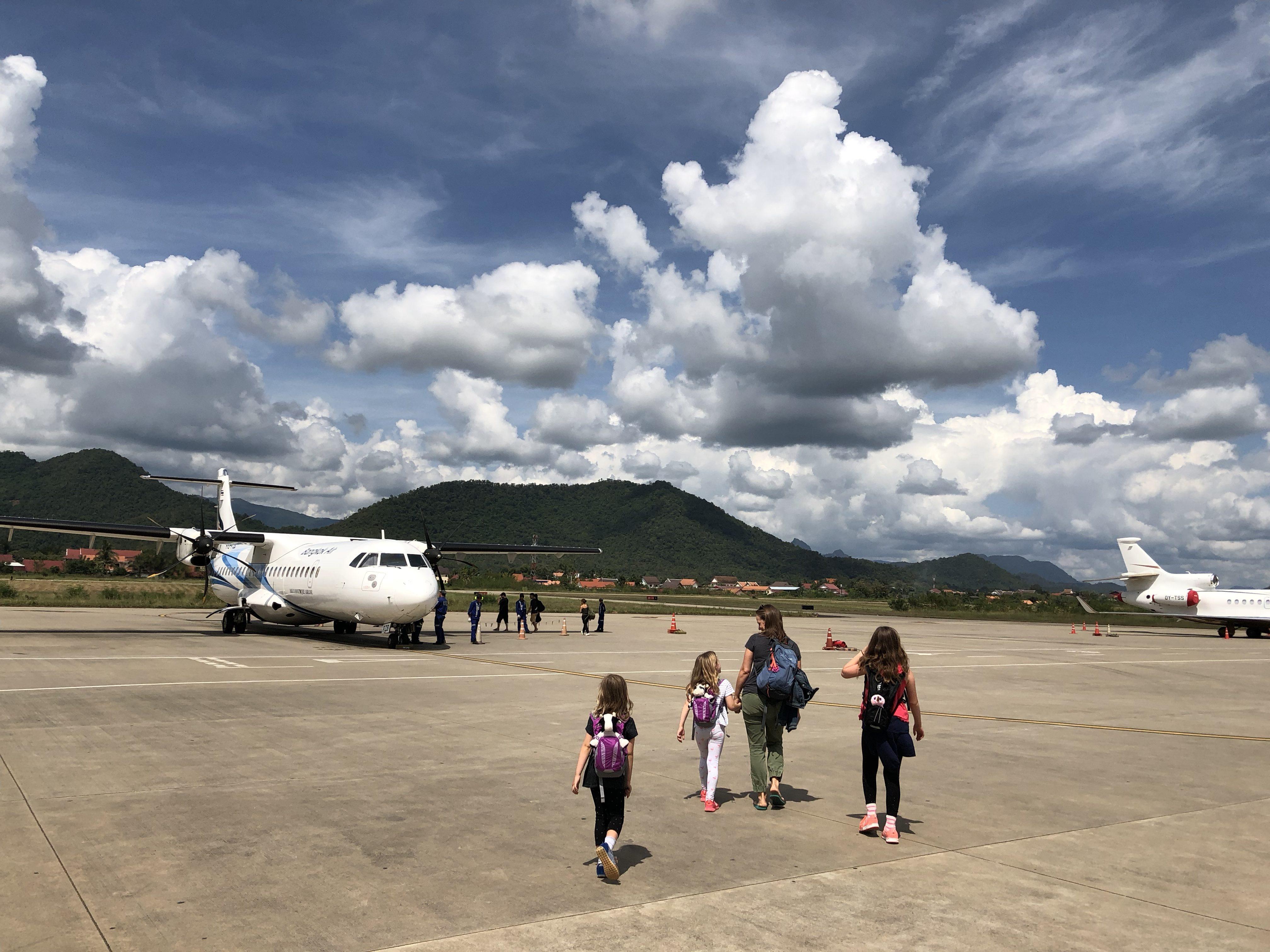 Boarding the plane in Borneo, as you do.